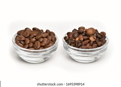 Coffee beans comparison. Comparison of quality coffee beans from roasters and poor quality beans - different colored, large, broken. Coffee beans on white background in two glass bowls.