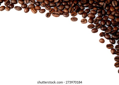 coffee beans in a corner on a white background