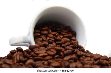 Coffee beans with cup detail