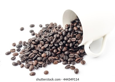Coffee beans in coffee cup isolated on white background