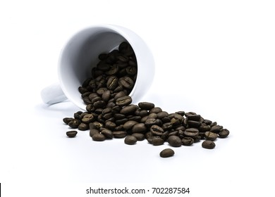 Coffee beans in coffee cup on white background