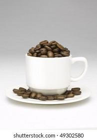Coffee beans cup overflowing