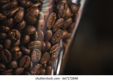 Coffee beans in espresso machine jar close up