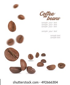 coffee beans falling down on a white background