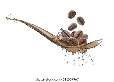 coffee beans falling down on wave of coffee