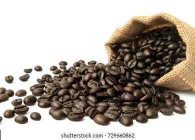 Coffee beans falling out burlap sack isolated in white background, Copy space for your text message or promotional content.