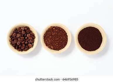 coffee beans, fine and coarse ground coffee isolated