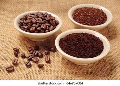 coffee beans, fine and coarse ground coffee