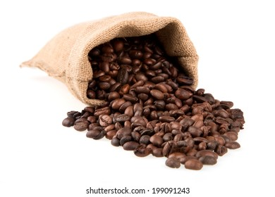 Coffee beans in full burlap sack, isolated on white background