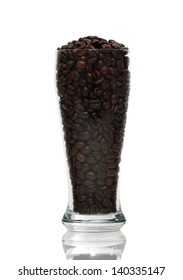 Coffee Beans in Glass. Isolated with clipping path.