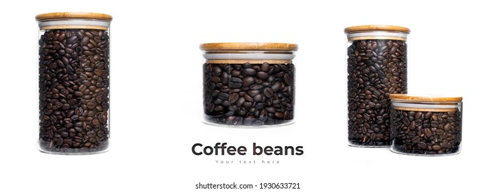 Coffee beans in glass jar isolated on whie background. High quality photo
