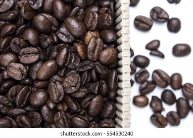 Coffee Beans - Grains Detail in Paper Box Isolated on White Background
