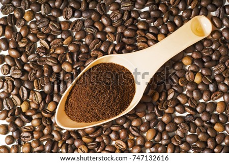 coffee beans  grains and ground