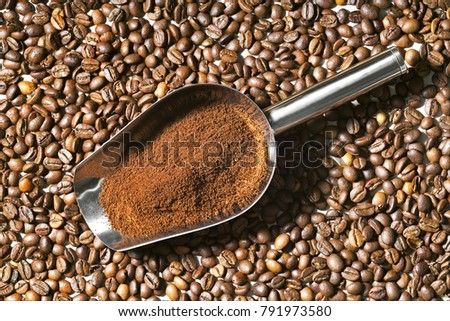 coffee beans  grains and ground coffee