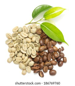 coffee beans, green and roasted
