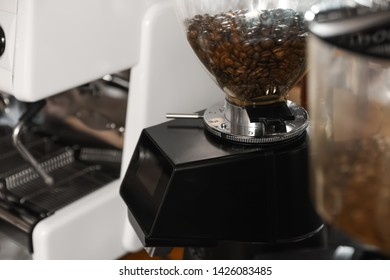 Coffee beans in grinder hopper, closeup. Space for text
