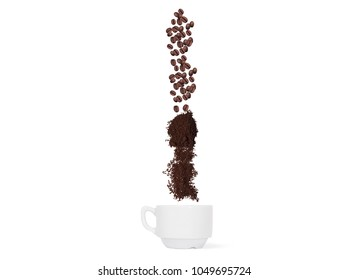 Coffee beans and ground coffee fall into the cup. Concept