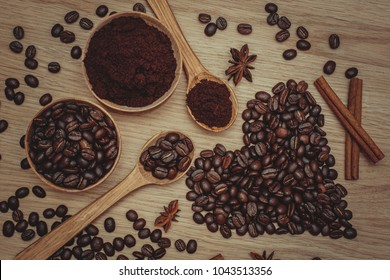 Coffee beans and ground coffee. Heart made of coffee beans. Toning.