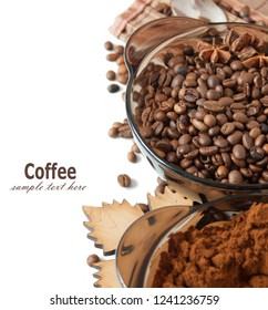 coffee beans and ground coffee isolated on white background with sample text