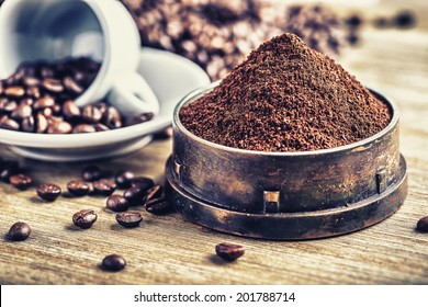Coffee beans and ground powder.