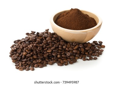 Coffee beans with ground coffee in wooden bowl over white background
