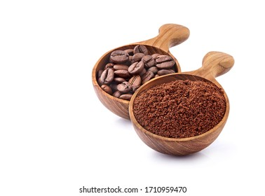 Coffee beans and ground coffee in wooden spoon on white background. Coffee   beans isolated.