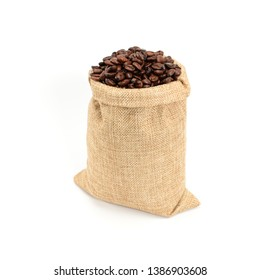 Coffee beans. Hard roasted coffee beans in jute burlack sack. Isolated on white background.