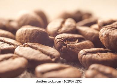 Coffee beans heap on sack