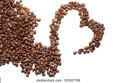 Coffee beans heart on white background