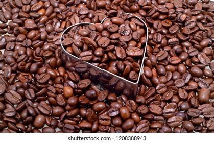 Coffee beans in a Heart shape