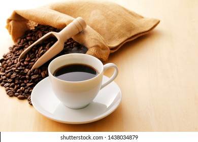 Coffee and coffee beans in hemp bag