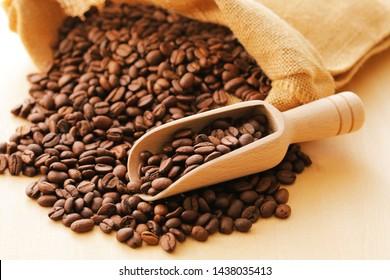 Coffee beans in hemp bag