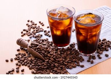 Fèves de café et café glace