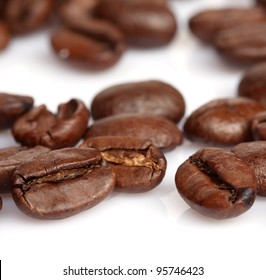 coffee beans isolated closeup