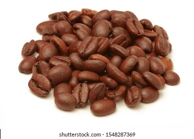 Coffee beans Isolated on white background. Soft focus.