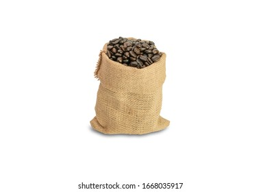 coffee beans isolated on white background with clipping path, roasted dark brown color coffee beans in a bag made by hemp sack with full capacity with an aroma of natural and ingredient with energy