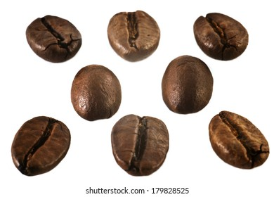 Coffee beans isolated on a white background.