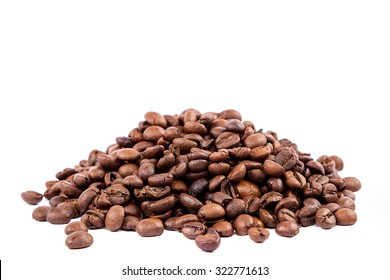 Coffee beans isolated on white background.