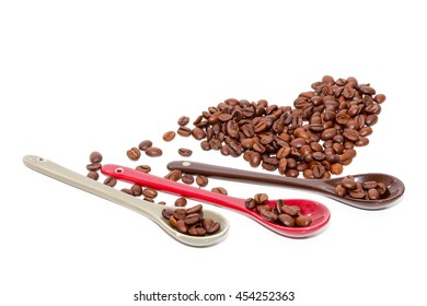 Coffee beans and isolated on white background.