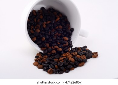coffee and coffee beans isolated on white background