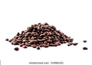 Coffee Beans isolated on white  background  area for copy space.