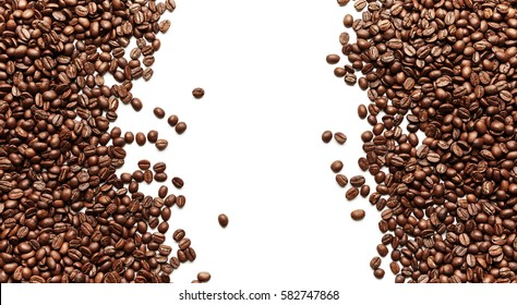 Coffee beans isolated on white background with place for text