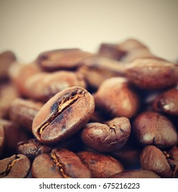 Coffee beans isolated on white clean background.