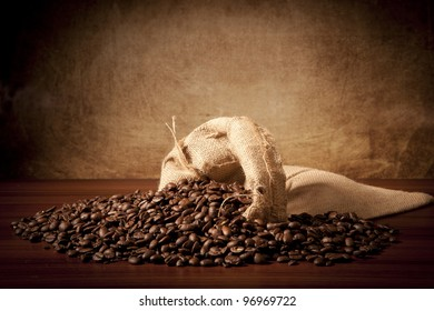 Coffee beans with juta bag