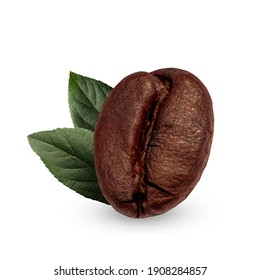 coffee beans and  leaves fresh isolated on white background