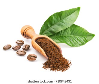 Coffee beans and leaves isolated on white. Deep focus