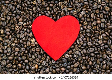 Coffee beans and love - drinks concept for making coffee and enjoying a full roasted natural flavor - menu sign or coffee banner, with design space.