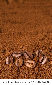 Coffee Beans macro on ground coffee background. with copyspace for your text. Selective focus