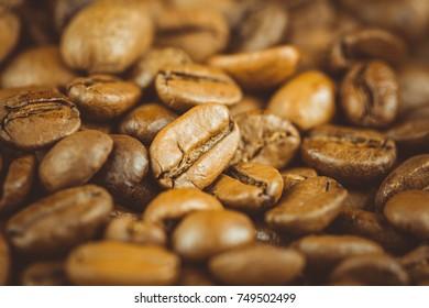 Coffee beans. Macro photo