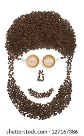 Coffee beans man face with a beard isolated on white background